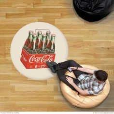 Creative decorating ideas to jazz up floors—Coca-Cola 6 Pack floor decals. Our officially licensed Coke advertising decals are made of skid-resistant, heavy-duty vinyl. Available in and 72 inch sizes. Made in the USA. Coca Cola Decor, Floor Graphics, Retro Living Rooms, Floor Decal, Retro Clock, Creative Decor, Vinyl Flooring, Coke, Pepsi
