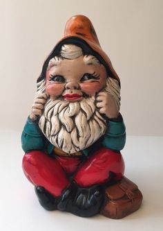 Vintage Ceramic Lawn Garden Gnome Hand Painted Green Orange Red