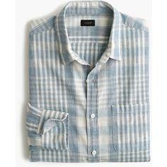 Slim slub cotton shirt in plaid ($150) ❤ liked on Polyvore featuring tops, slim cut shirts, slim fitted shirts, slim fit shirts, slimming tops and tartan plaid shirt