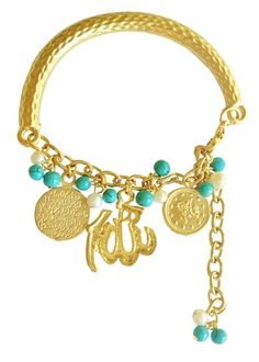 Our pretty Allah Name Gold Plated Arabic Muslim Charm Bracelet is simple yet refined and goes great with any outfit!