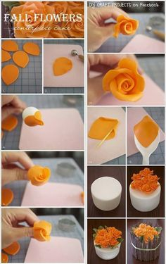 Cute fall party or wedding cake decorating idea. Visit us @ for more cake decor ideas.Cake fondant Flower's Numbering is messed up.How to Make Cake Icing FlowersTort z różami - Swiatciast. Cake art make these for a wedding or even a small simple cu Cake Decorating Techniques, Cake Decorating Tutorials, Cookie Decorating, Decorating Ideas, Decorating Cakes, Autumn Decorating, Decor Ideas, Cake Icing, Eat Cake