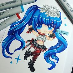 Chibi fanart of Miku (The two breaths walking module). I've been playing a lot of Project Diva future/colourful tone to relieve stress, hence why I had the urge to draw Miku. Hope you guys like it! #copicmarkers #copics #copic  #traditionalart #miku #vocaloid #fanart #hatsunemiku #chibi #cute #kawaii #instaartist #instagramartist #manga #anime #paigeeworld