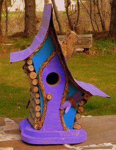 bird house, Birdhouse, Whimiscal birdhouse in color options with dragon fly and wire fret work, garden art, in color options - Modern Design Bird Houses Painted, Decorative Bird Houses, Bird Houses Diy, Fairy Houses, Painted Birdhouses, Bird House Feeder, Bird Feeders, Birdhouse Designs, Bird House Kits