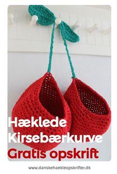Super søg (og gratis) opskrift på hæklede kirsebærkurve. Find den og mange andre hos Danske Hækleopskrifter