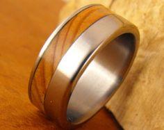 Wedding Rings Titanium Wood Rings Wood Ring Blue by RobandLean
