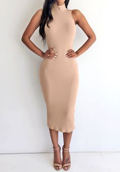 This mock neck bodycon midi dress is knitted using stretchable material in soft apricot shade which features a sleeveless cut. Sexy Dresses, Cute Dresses, Casual Dresses, Dress Skirt, Dress Up, Bodycon Dress, Chic Outfits, Fashion Outfits, Womens Fashion