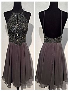 Short Grey Backless Prom Dress,Homecoming Dress, Graduation Dress #simibridal