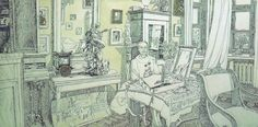 The Parents'Flat. Diptych. 1986. Рареr, Indian ink, а crow quill, watercolour. 51х103