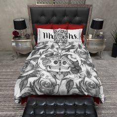 Pencil Sketch Rose Kissing Mr and Mrs Sugar Skull Duvet Bedding Sets