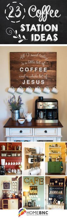 New Kitchen Corner Coffee Tea Station Ideas Coffee Area, Coffee Nook, Coffee Bar Home, Home Coffee Stations, Coffee Corner, Coffee Life, Coffee Barista, Eggnog Coffee, Beverage Stations