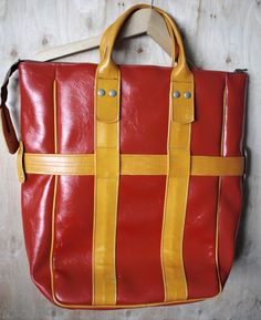 Vintage 1960s Red Overnight Luggage Bag Made in Former Soviet Republic/ Bonded Leather by SiPapi on Etsy https://www.etsy.com/listing/292004641/vintage-1960s-red-overnight-luggage-bag