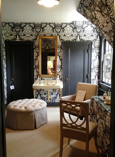 trend: Bedroom dressing area, swathed in Clarence House Vase - Robert Brown - JL of Greensboro Designer Showhouse 2013