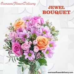 Send your hugs and kisses with this gorgeous pink flower bouquet, with stunning orange roses. The vase is not included. #jewelbouquet #jewelflowers #flowers #overseasflowers #flowerdelivery #florist #gift #surprise Pink Flower Bouquet, Flower Bouquet Wedding, Pink Flowers, Spring Wedding Flowers, Orange Roses, Flower Delivery, Carnations, Light Colors, Floral Wreath