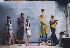"Christina Kruse, Shalom Harlow, Carolyn Murphy, Ling Tan & Debra Shaw (in Christian Dior Haute Couture [début] Spring-Summer 1997 collection by John Galliano) photographed by Peter Lindbergh for ""Vogue"" - April, 1997 John Galliano, Galliano Dior, Shalom Harlow, Carolyn Murphy, Dior Haute Couture, Peter Lindbergh, Christian Dior, Fashion Poses, Photoshoot Fashion"