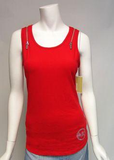 Michael Kors Red Double Zipper Jeweled MK Logo Tank Sz M & XL #MichaelKors #KnitTop #Casual