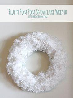 Fluffy Pom Pom Snowflake Wreath
