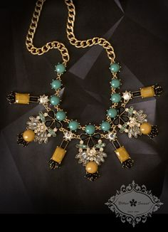 Fashion necklace by Bitter Sweet Jewellery. #fall #2013 #fashion #style #trend #necklace #colorful #gold #teal #yellow #mustard