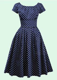 House Of Foxy: 50'er Lucy dress, blå med prikker