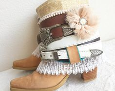 Upcycled Boho Boots ReWorked Bohemian Boots by FlowersInMyHairShop