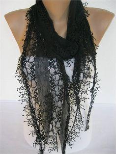 Black Scarf Fashion Scarf  ShawlsScarvesGift by SmyrnaShop on Etsy, $14.00