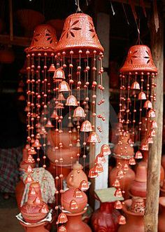 images of clay pot windchimes | terracotta wind chimes
