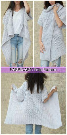 Crochet Cascading Kimono Cardigan Free Pattern for Ladies