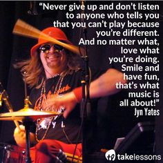 What Jyn Yates has to say about learning the drums http://takelessons.com/blog/drummers-advice-for-beginners-z07?utm_source=social&utm_medium=blog&utm_campaign=pinterest