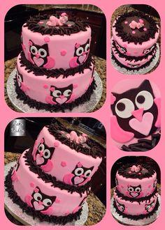 Owl baby shower cake.