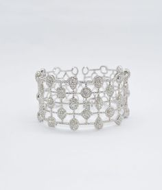 18k White Gold Diamond Cuff Bracelet. Diamonds 3.69 ct.