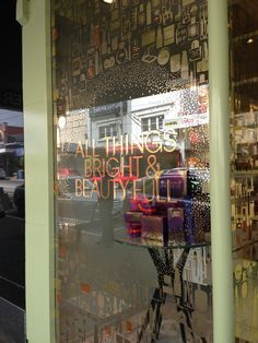 Mecca Cosmetica Christmas Window Decals - Multiple foil vinyls laser cut and layered for striking effect!