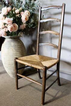 Antique Chair With Woven Rush Seat - WARINGS Store