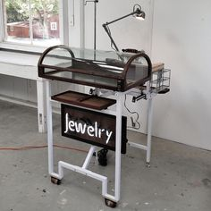 DIY portable jewelers bench & display! | with neon sign and custom tool bit organizers, wheels, and lamp. Metal Framing that folds down for portability. amazing. #jewelrymaking