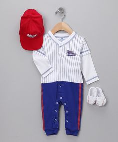 Take a look at this Blue 'Baby All-Star'' Baseball Layette Set on zulily today!