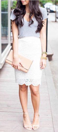 White lace skirt grey v neck tshirt