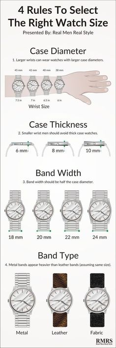 4 Rules On Watch Size Infographic - How To Buy The Right Sized Watch Info-Graphic - Real Men Real Style - Cool Watches, Watches For Men, Ladies Watches, Nixon Watches, Wrist Watches, Bulova Mens Watches, Black Watches, Trendy Watches, Fossil Watches