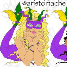 Here's a zoomed in version so you can see details. Converted my #MardiGras #mermaid to digital art to print on T-shirts bags bottles etc.. I will color the original sketch with Copic as well. #staytuned msg me if interested in prints  #art #artwork #artist #arte #artistic #louisiana #neworleans #designedbyme #neworleansart #nola #frenchquarter #digitalart #digitalartist #graphicdesigner #graphicdesign #logo #logos #logodesigner #digitalpainting #digitalpaint #carnival #parade #parades…