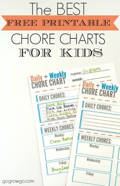 The best free and cute daily + weekly chore chart printable for kids! What a great idea for keeping kids motivated. The post even provides a few tips on how to assign chores. Best Parenting Tips Daily Chore Charts, Free Printable Chore Charts, Chore Chart Kids, Free Printables, Chore Schedule, Chore List, Daily Schedules, Schedule Cards, Kids Schedule
