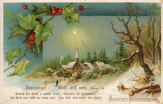 Vintage German Christmas postcard image