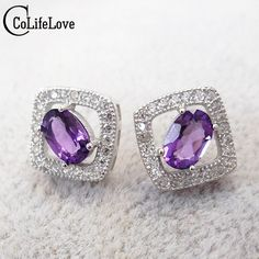 Classic square shape natural amethyst 925 silver earrings beautiful purple crystal genuines gem stone stud earrings for women