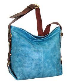 Look what I found on #zulily! Denim Blue California Leather Hobo Bag by Nino Bossi Handbags #zulilyfinds