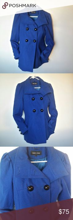 Navy Blue Pea Coat by Black Rivet Black Rivet navy blue pea coat in size small. Excellent used condition.   Approximate length: 27 inches; Approximate sleeve length: 24 inches Black Rivet Jackets & Coats Pea Coats