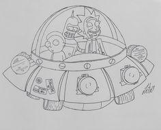Surprise Bitches! hahahaha more on my instagram: Instagram.com/Always_Zeta . . . . . .. . . . . . . . . . . . . . . .  . . . . . ..  .. . . . . #rickandmorty #rick #morty #ricksanchez #mortysmith #sanchez #smith #drawing #art #fanart #fandom #bender #futurama #space #ship #spaceship #nave #naveespacial #alien #ufo #ovni #handmade #ispiration #tutorial #pencil #bnw #blancoynegro #white #black #blackandwhite #artist #illustration #adult #sketch #sketchbook
