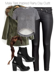 """""""Malia Tate Inspired Rainy Day Outfit"""" by staystronng ❤ liked on Polyvore featuring H&M, BCBGMAXAZRIA, Steve Madden, rainyday, tw and maliatate"""