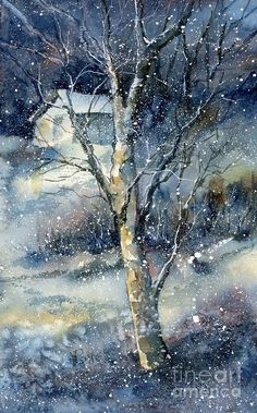 Landscape Art Print featuring the painting Snowfall by Virginia Potter Watercolor Landscape, Landscape Art, Watercolor Paintings, Watercolors, Winter Painting, Winter Art, Winter Snow, Snow Scenes, Winter Scenes