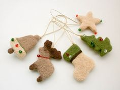 Christmas Tree Ornaments Needle Felted