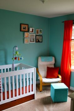 Lil Community: The 'Kinderzimmer' Is Done! I LOVE the turquoise & red – it's exactly … Turquoise Nursery, Aqua Nursery, Orange Nursery, Bright Nursery, White Nursery, Nursery Room, Girl Nursery, Nursery Decor, Turquoise Walls