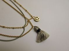 Peace Tassel Necklace - Grey