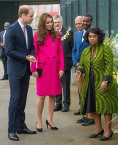 Prince William, Duke of Cambridge and Catherine, Duchess of Cambridge meet Doreen Lawrence, Baroness Lawrence of Clarendon (R) as they visit the Stephen Lawrence Centre on 27.03.2015 in London, England.
