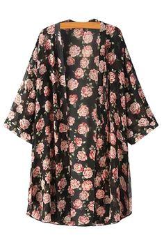 Floral Print Long Sleeve Kimono Blouse