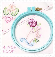 "What do you need to fit your little handkerchief onto a hoop? Why, a 4"" hoop of course!"